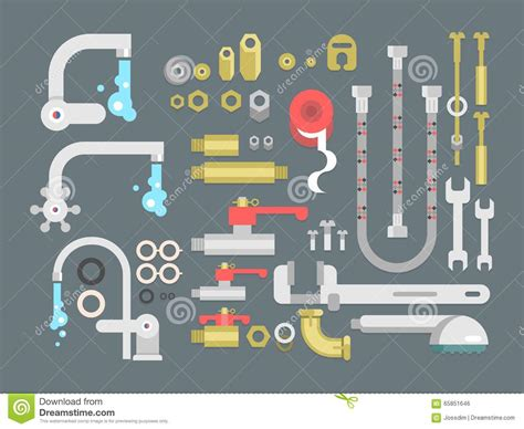 Eps Plumbing Supplies by Set Plumbing Parts Stock Vector Image 65851646