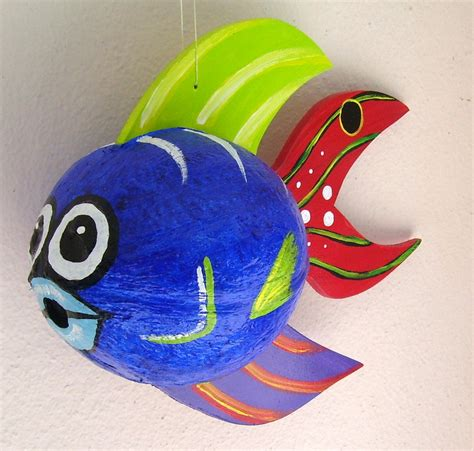 coconut fish tropical fish painted and crafted blue
