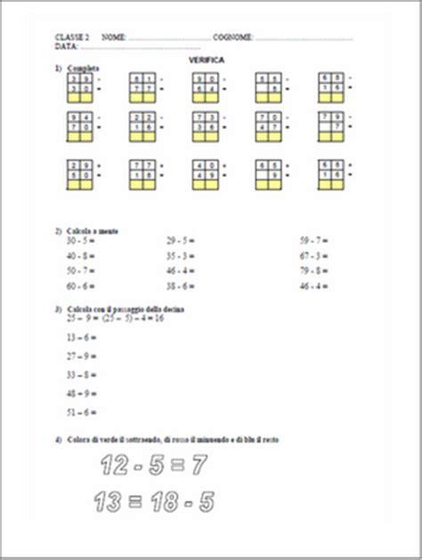test ingresso superiori matematica verifiche matematica scuola primaria la sottrazione