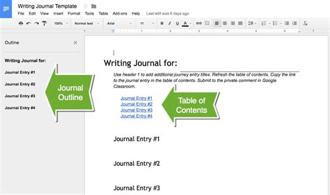 Google Docs Writing Journal Teacher Tech Diary Template Docs