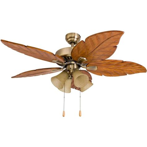 Shop Palm Coast San Martin 52 In Aged Brass Downrod Or Palm Ceiling Fan With Light