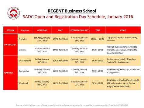 Mba Start Dates by Open Day Schedule 2016 Regent Business School