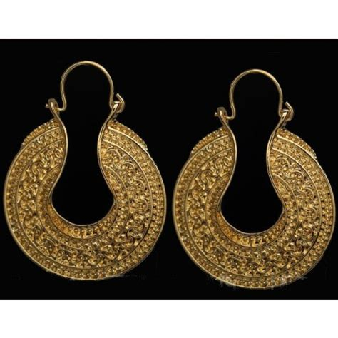 pattern of gold earring buy gold plated retro pattern round earring for women