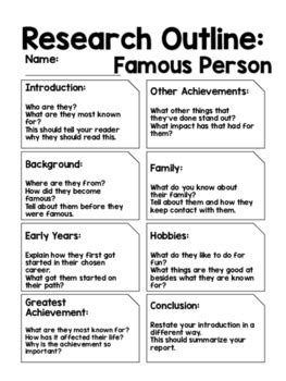 report outline famous person by kmwhyte s kreations tpt