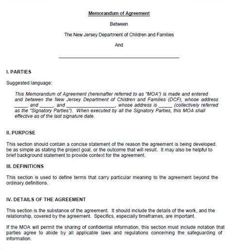 agreement of understanding template sle memorandum of agreement 7 documents in pdf word