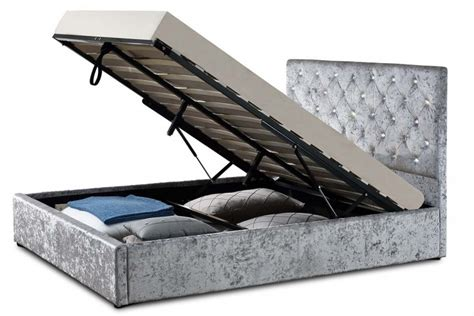 ottoman bed frames uk sleep design chatsworth 5ft kingsize crushed silver velvet