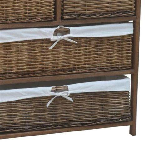 wicker 4 basket cabinet 4 wicker baskets wide wooden storage cabinet brown buy