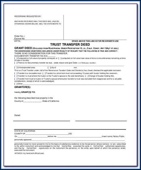 grant deed form california word document form resume