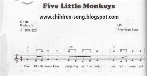 5 monkeys jumping on the bed lyrics five little monkey notes and chords