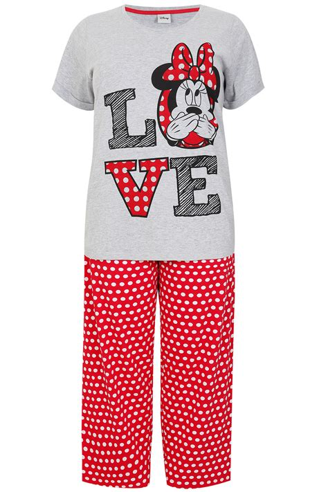 Piyama Minie Mouse White grey white mix minnie mouse disney pyjama set plus