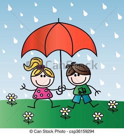 clipart pioggia bambini pioggia felice felice ombrello bambini sotto