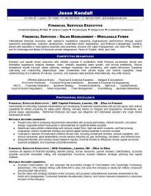 Financial Services Resume Template by Exle Financial Services Executive Resume Free Sle