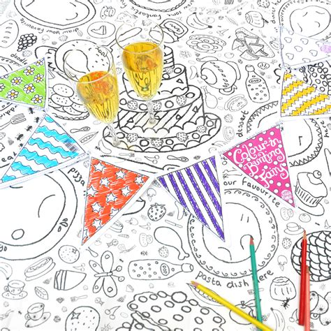 seaside colour in tablecloth eggnogg colouring in colour in party tablecloth or giant poster cards and
