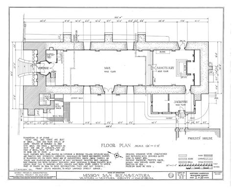 architect floor plan san buenaventura california missions resource center