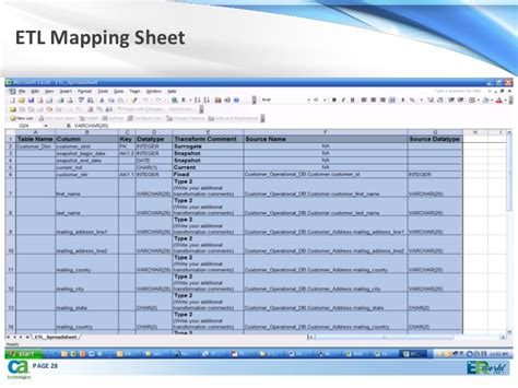 Effective Capture Of Metadata Using Ca E Rwin Data Modeler 09232010 Etl Mapping Excel Template