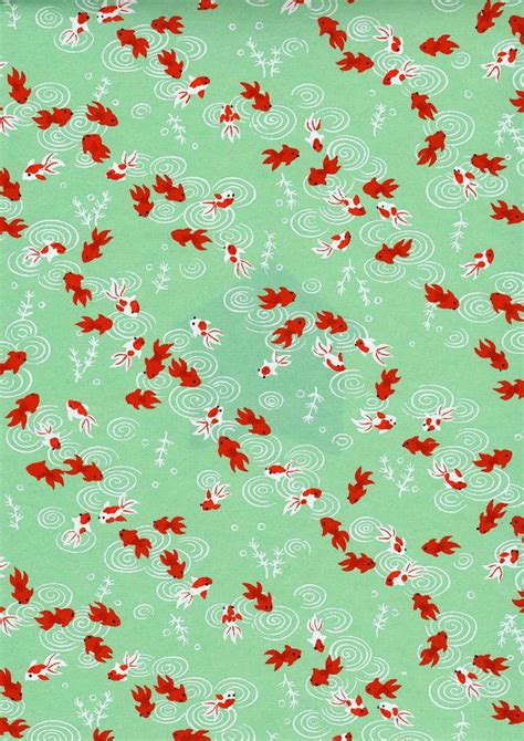 chiyogami origami paper green goldfish japanese yuzen chiyogami washi paper sheet