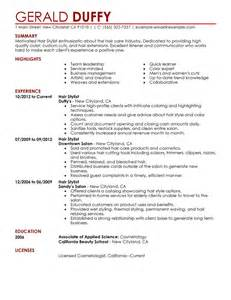 hairdressing resume template resume exle 51 hair stylist resumes hair stylist