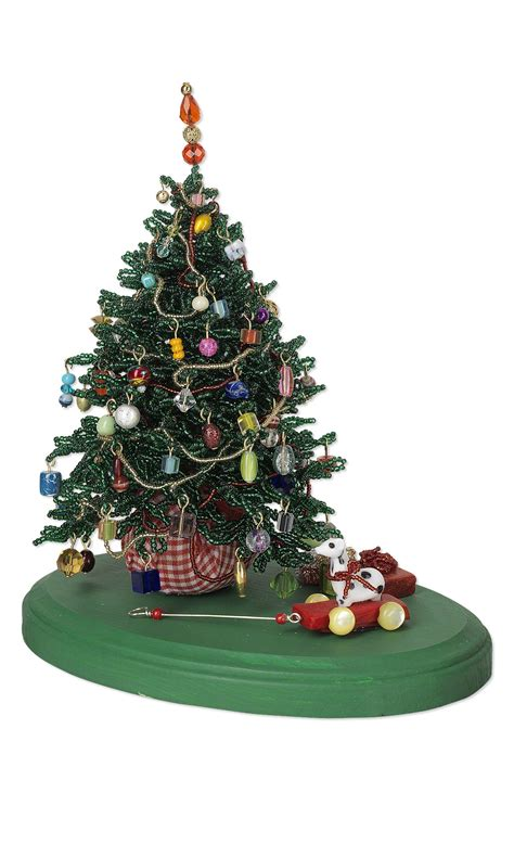 jewelry design christmas tree with seed beads and