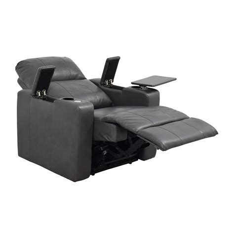90% OFF   Grey Leather Recliner with Storage and USB Port