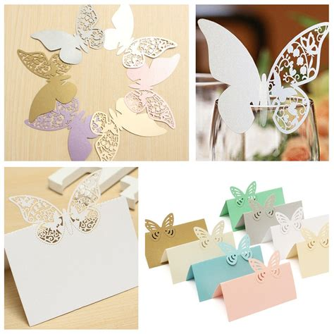 Butterfly Paper Place Card Lavender Isi 12 Pcs 20pcs butterfly wedding name place cards wine glass laser