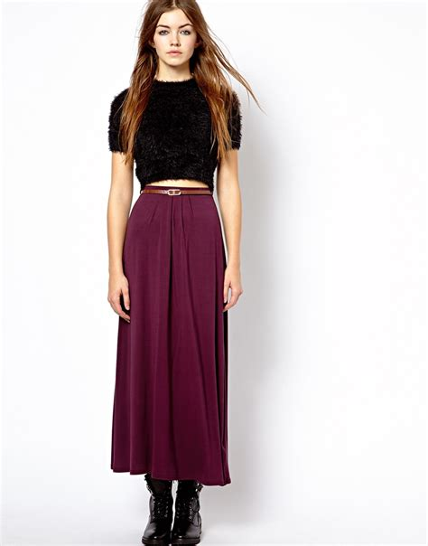 Maxi Belt Jersey asos new look jersey maxi skirt with belt in lyst