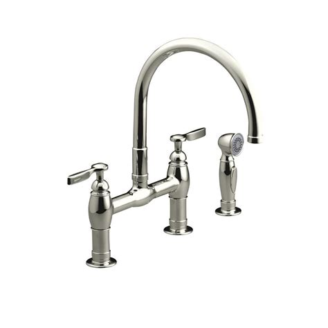 bridge kitchen faucets kohler parq 2 handle bridge kitchen faucet with side sprayer in vibrant polished nickel k 6131 4