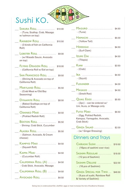 sushi menu template sushi restaurant menu design www imgkid the image