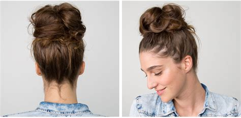 how to put the world s greatest hair buns with braids the easiest messy bun in the world beautylish