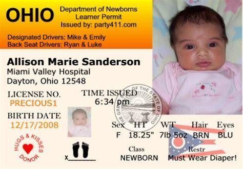 ohio license personalized driver s license invitations and birth announcements