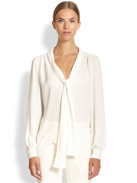 tamara mellon silk tie neck blouse in lyst