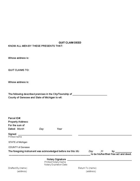 Quit Claim Deed Exle Michigan Free Download Quit Claim Deed Template Michigan