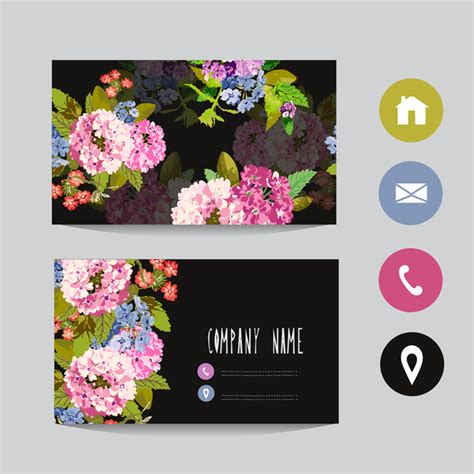 Flower Business Card Template With Society Icons Vector 12 Business Icons Free Download Flower Business Card Template