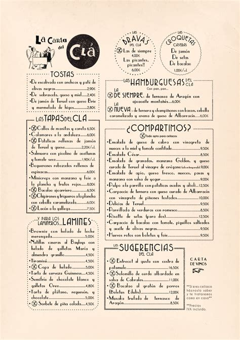 one page layout menu links restaurant menu design cl 193 hotel carmela alvarado art