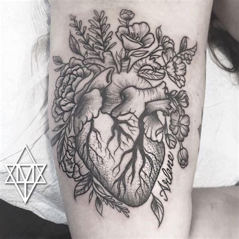 hearts and flower tattoos designs s stipple anatomical with flowers