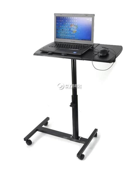 Adjustable Laptop Desk Stand Angle Height Adjustable Rolling Laptop Desk Bed Hospital Table Stand Tray Ebay