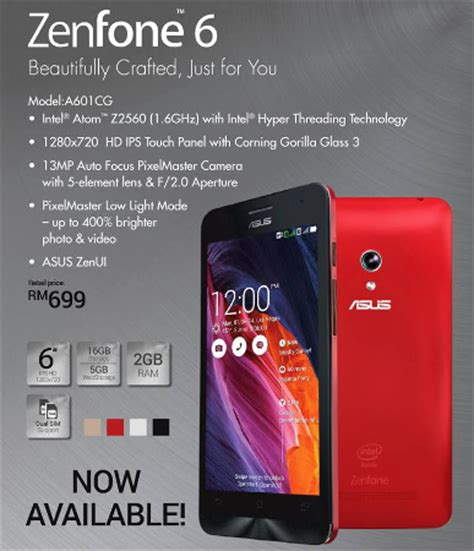 Handphone Asus Zenfone 6 Malaysia asus malaysia announces zenfone 6 a601cg smartphone for