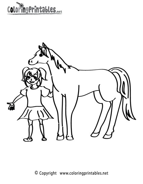 coloring pages of a horse with a girl girl horse coloring page a free animal coloring printable