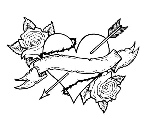 free coloring pages of cross and rose