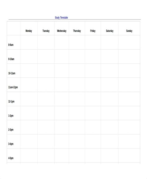revision timetable template 10 blank revision timetable