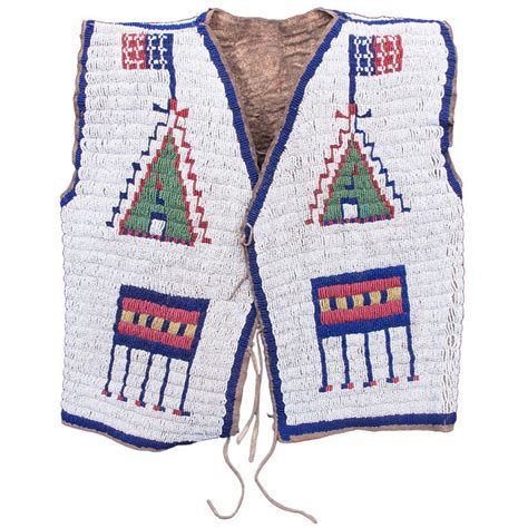 beaded vest fully beaded pictorial american vest sioux at 1stdibs