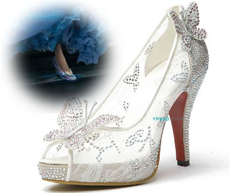 cinderella high heel shoes lace butterfly princess cinderella high