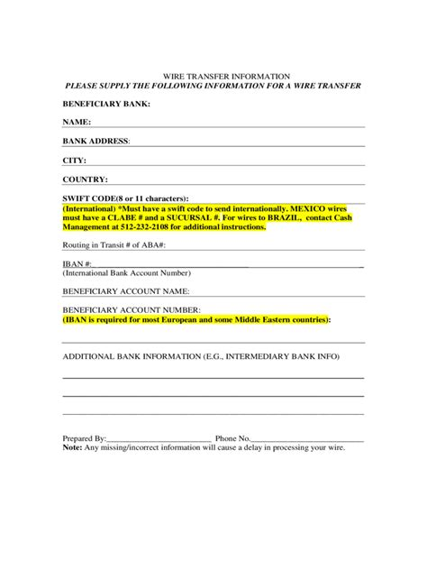 Wire Transfer Request Letter Wire Transfer Form 2 Free Templates In Pdf Word Excel