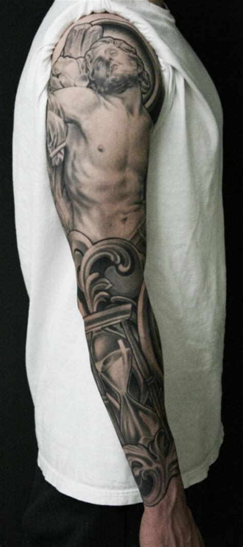 jesus tattoo using arm jesus arm sleeve tattoos