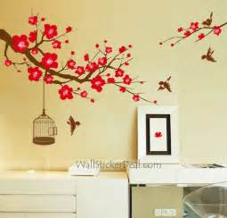 plum tree flower with birds and birdcage wall stickers wall decals birds branch wall stickers