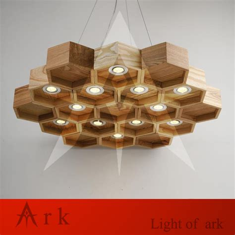 Handmade Light Fixtures - ark light wooden honeycomb modern creative handmade wood