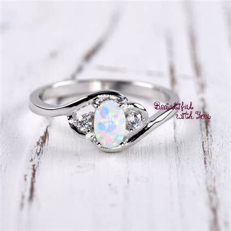 Wedding Rings With Opal by White Opal Ring Silver Opal Ring Womens Dainty Opal Wedding