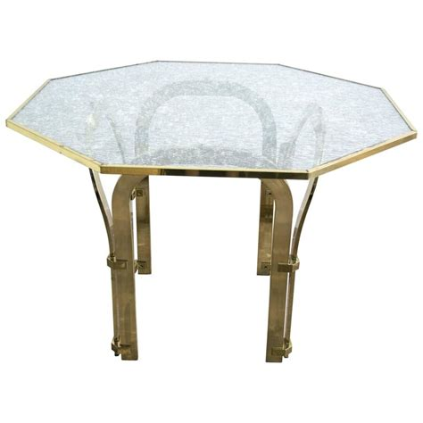 Octagon Dining Table Octagonal Brass Dining Table With Custom Glass In The Style Of Milo Baughman For Sale At 1stdibs