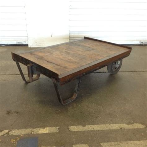ebay industrial cart coffee table industrial cart coffee vintage industrial factory railroad steunk cart dolly