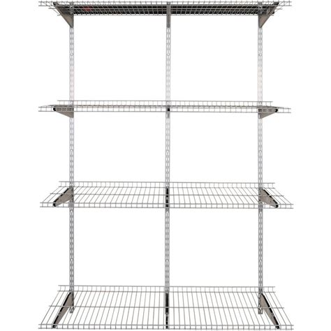 rubbermaid fasttrack 4 shelf 16 in x 48 in silver