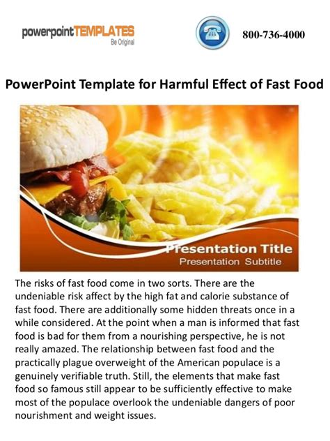 Powerpoint Template For Harmful Effect Of Fast Food Fast Food Powerpoint Template